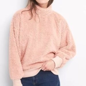 GAP | Sherpa Cowl Neck Sweater SUPER Soft Pink